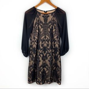 Adrianna Papell lace dress w/sheer sleeves